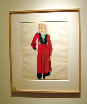 "Celia in Red"" by Hockney"