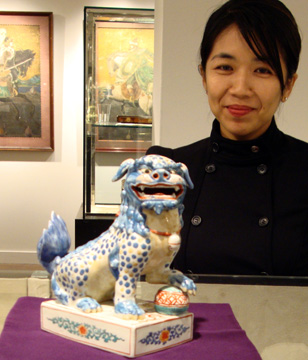 Porcelain model of a Chinese lion