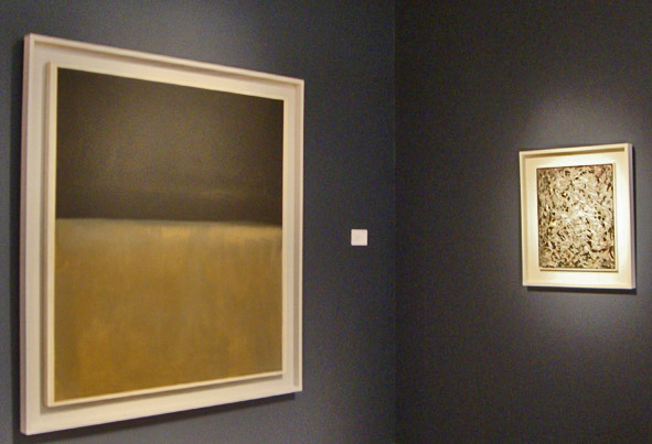 """Untitled (Black on Gray)"" by Rothko, left,' ""Eye in the Heat II"" by Pollack right"