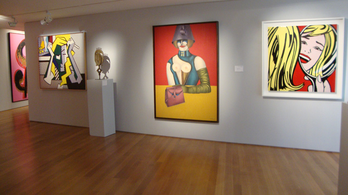 """Deep in Thought"" by Lichtenstein, ""West 48th Street"" by Lindner, and ""Girl in Mirror"" by Lichtenstein"