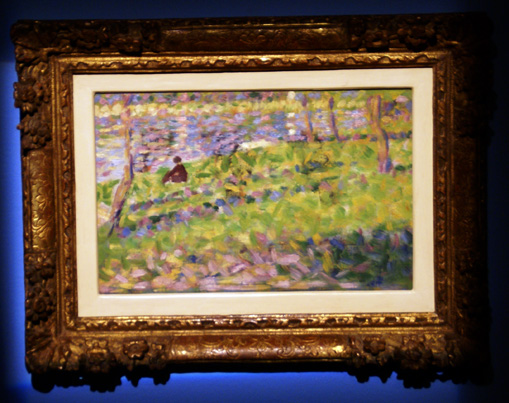 """Paysage, homme assis"" by Seurat"