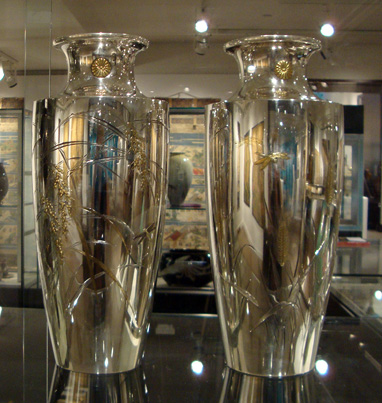Pair of silver and gilt presentation vases