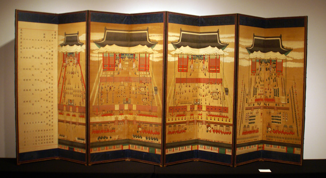 Anonymous 8-panel screen of royal banquet