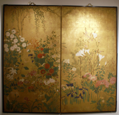 "Two panel screen of ""Flowers of the Four Seasons"""