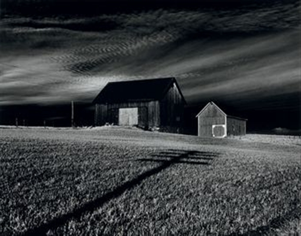 """Two barns, Dansville, New York"" by Minor White"