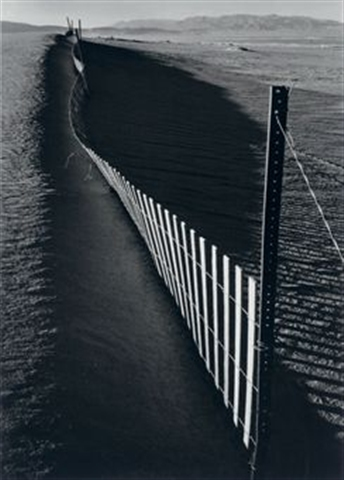 """Sand fence, near Keeler, California"" by Adams"