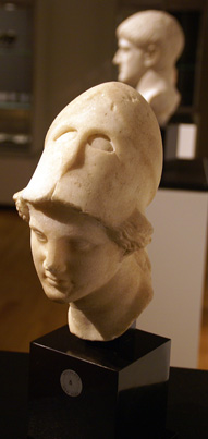 Roman marble head of a goddess