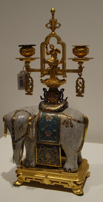 Pair of ormolu-mounted cloisonne elephants