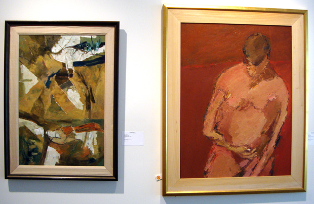 """Untitled"" by Kumar, left; ""Untitled (Pink Figure)"" by Mehta, right"