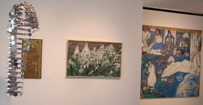 """Remains"" by Suleman, left; ""untitled' by Souza, center; ""Munna Apa's Garden"" by Singh, right"
