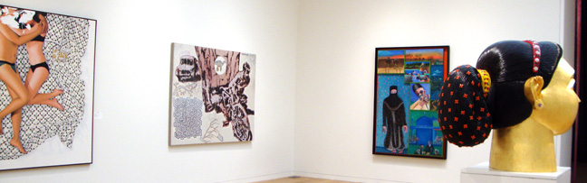"""I Like My Man Covered Too"" by Thukral & Tagra, left; ""White Sweat/Inherited Allegy"" by Jitish Kallat, center left; ""Muslims around a Mosque"" by Khakar, center right, and Untitled head by Reddy, right"