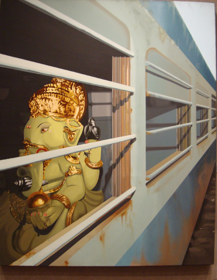 """Ganesha on a Train"""