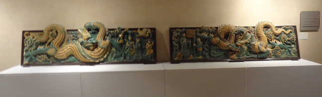 Pair of glazed tilework panels
