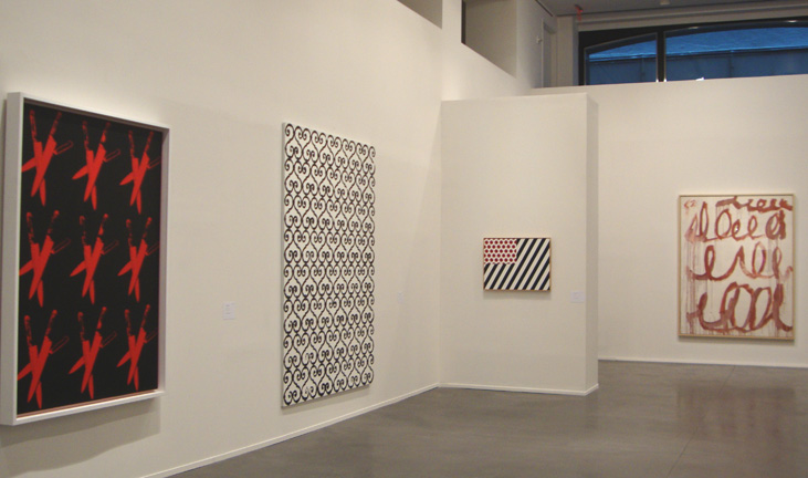 """Knives"" by Warhol, untitled by Wool, ""Forms i Space"" by Lichtenstein and untitled by Twombly"