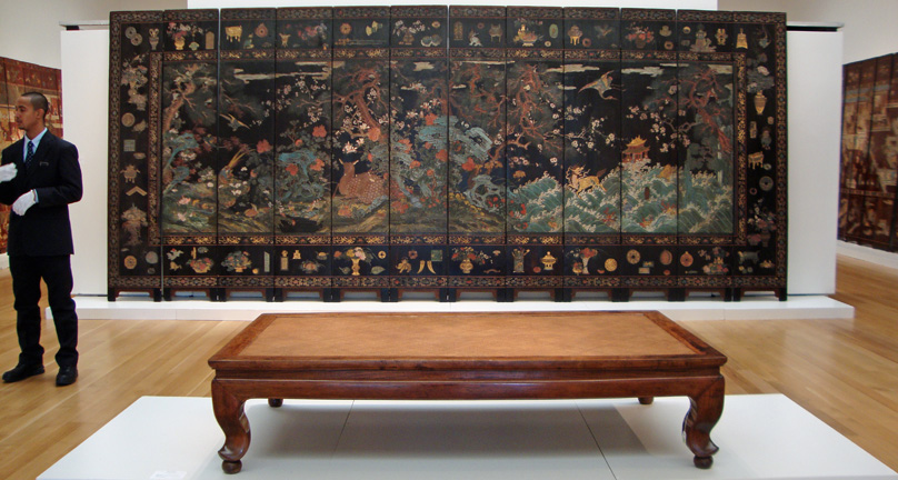 12-panel coromandel screen with deer, rear, and Huanghuali waisted daybed (ta)