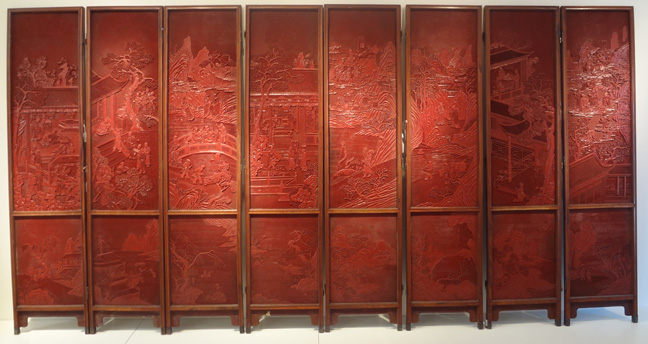 8-panel cinnabar lacquer screen, signed Kuisheng
