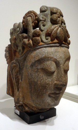 Head of a Bodhisattva, stone, Liao/Song Dynasty