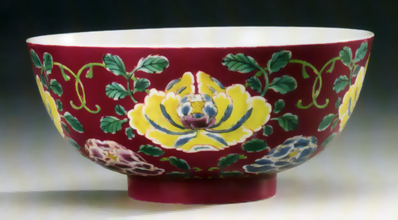Rare ruby-ground famille-rose bowl