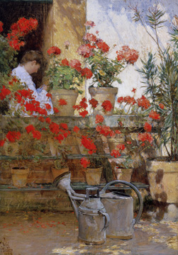 """Geraniums"" by Hassam"