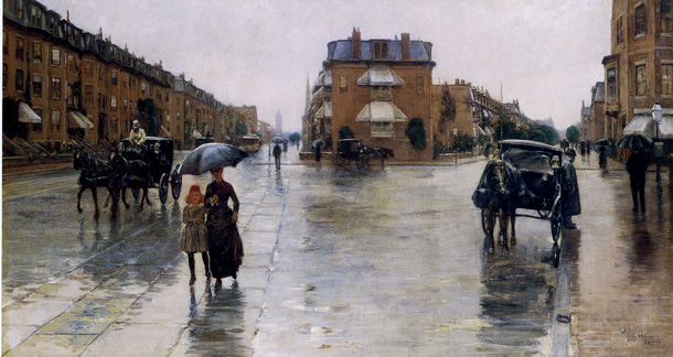 """A Rainy Day, Columbus Avenue, Boston"" by Hassam"