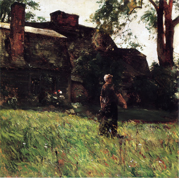 """The Old Fairbanks House, Dedham, Massachusetts"" by Hassam"
