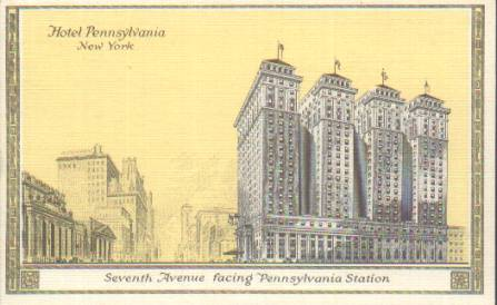 Old rendering with Pennsylvania Station on left and Hotel Pennsylvania on right