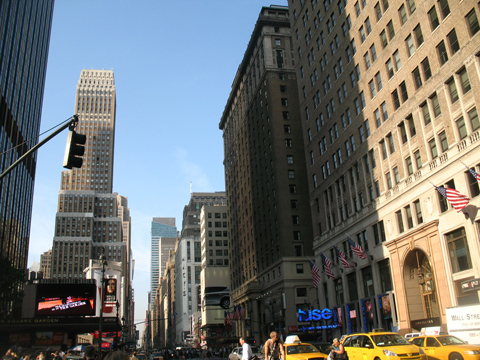 View up Seventh Avenue with hotel center right