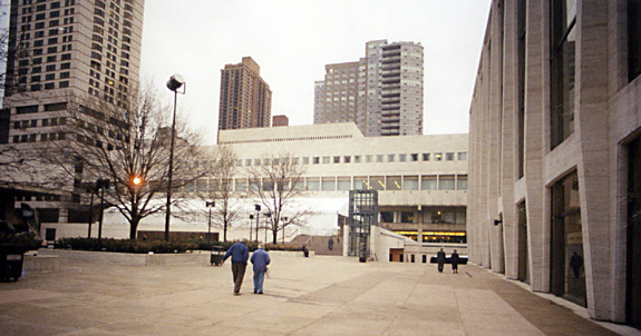 Juillard School from the south showing Milstein Plaza bridge