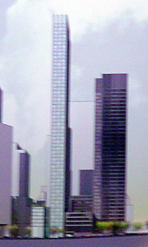 Rendering of new tower, shown at left