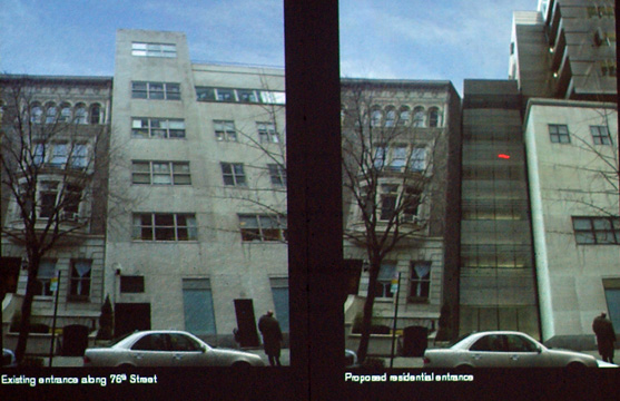 Before and after view of rear of building on 76th Street