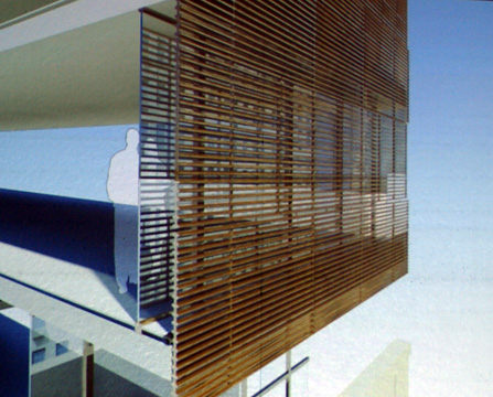 Rendering of louvered façade of addition with shutters closed
