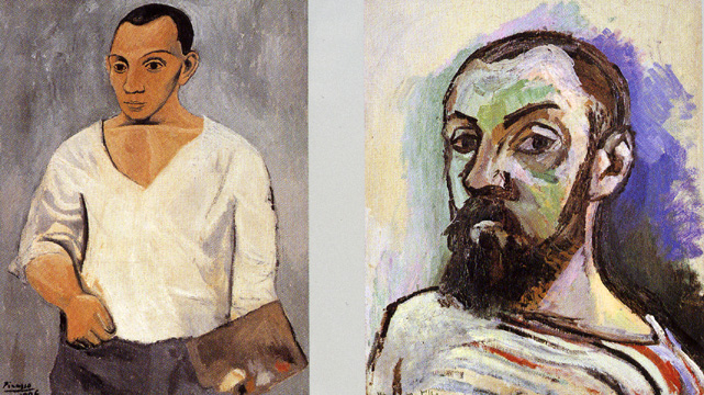Self-portraits by Picasso and Matisse