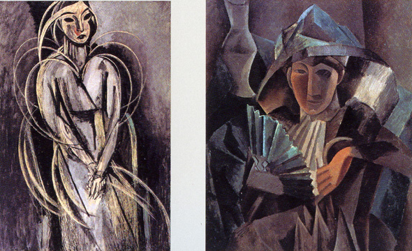 """Portrait of Yvonne Landsberg"" by Matisse and ""Woman with a Fan"" by Picasso"