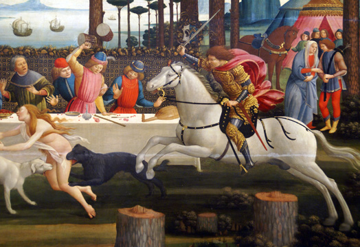 "Detail of ""Banquet in the Pinewoods"" by Botticelli"