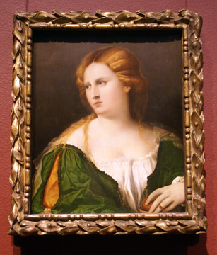 """Young Woman in Green"" by Palma il Vecchio"