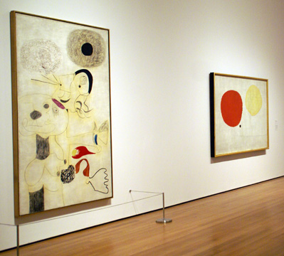 """Painting"" left, and ""Painting (The Magic of Color)"" right, both by Miró"