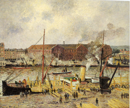 """The Wharves, Saint-Sever, Rouen"" by Pissarro"