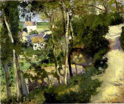 """The Climbing Path, L'Hermitage, Pontoise"" by Pissarro"