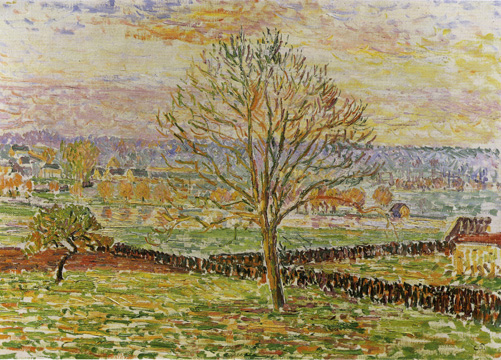"""The Big Walnut Tree, Flooding, Sunlight Effect, Eragny"" by Pissarro"