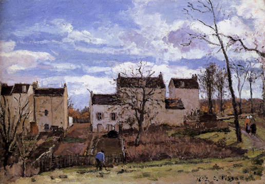 """Houses on a Hill, Near Louveciennes"" by Pissarro"