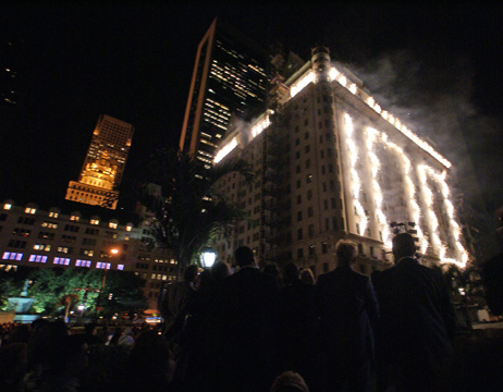 North facade with 100 in fireworks