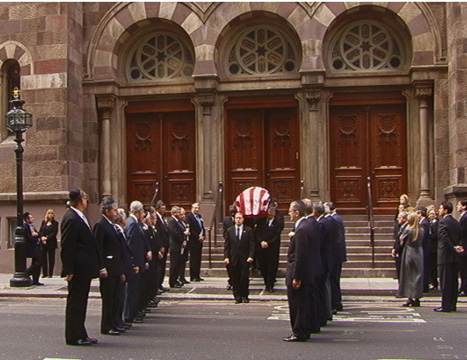Lewis Rudin's coffin borne out of Central Synagogue after memorial service