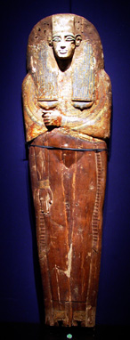 Polychrome wood sarcophagus inner cover, Egyptian