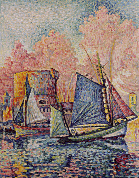 "Detail of ""Le Thonier Entrant à La Rochelle (Couchant)"" by Signac"