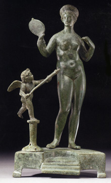 Roman bronze of Venus and Cupid