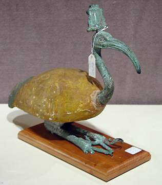 Egyptian ibis with hemhem crown
