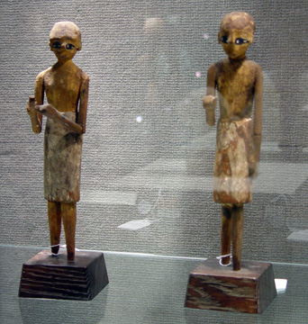 Pair of Egyptian wood figures