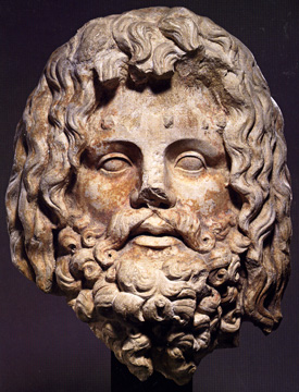 Marble head of Zeus Serapis