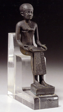 Egyptian bronze figure of Imhotep