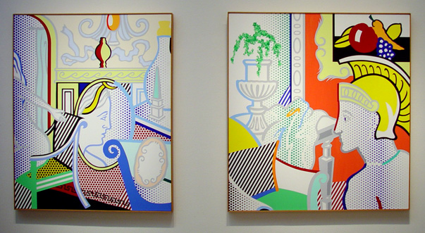 """Interior with Diana,"" left, and ""Interior with Ajax,"" right, by Lichtenstein"